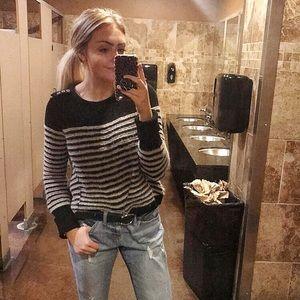 Free People Black/White Sweater